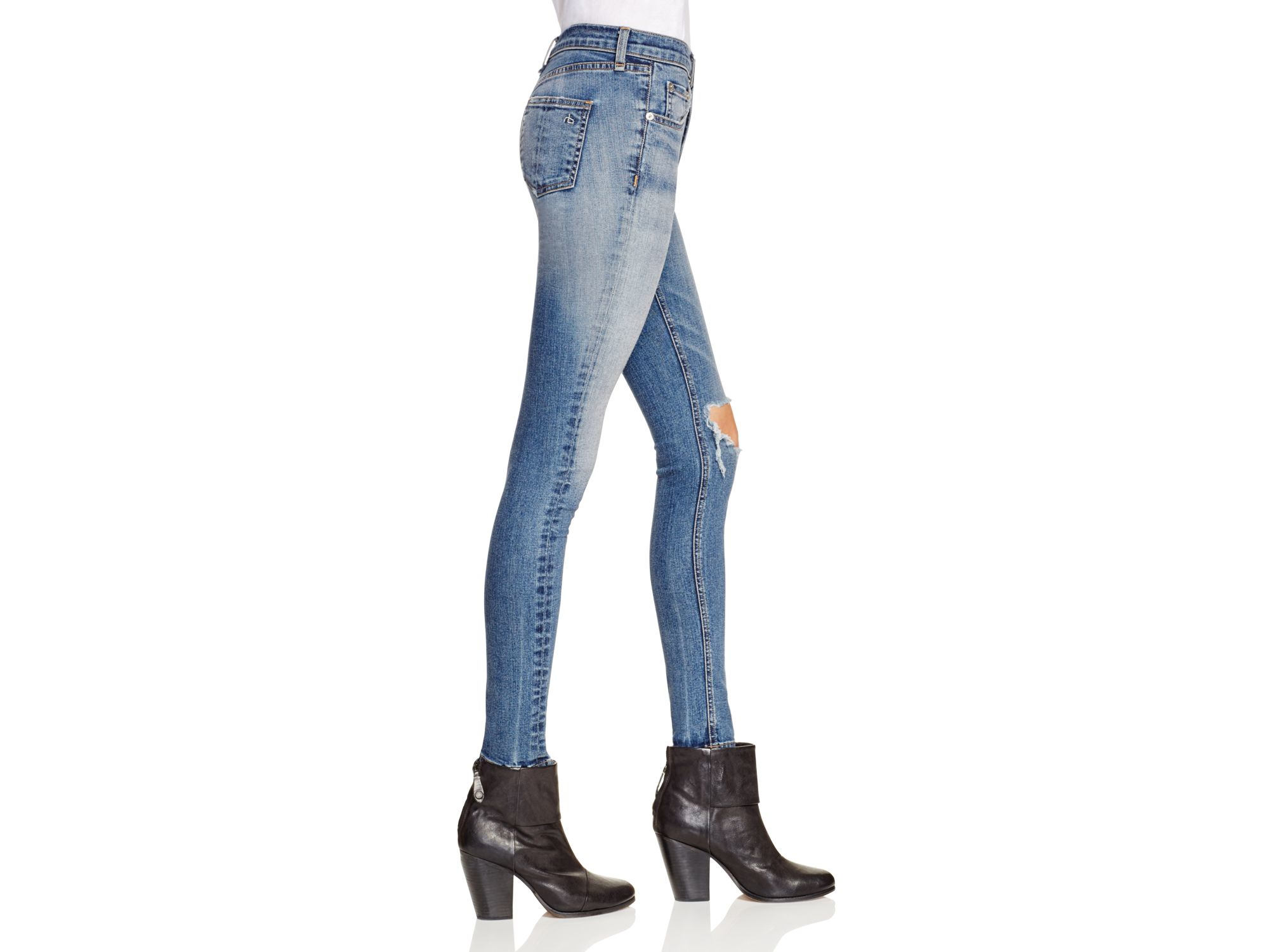 007f3b493805 Lyst - Rag   Bone High Rise Skinny Jeans In Ward in Blue