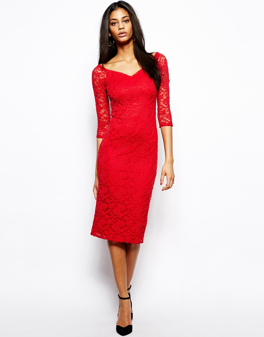 Red bodycon dress off the shoulder charleston