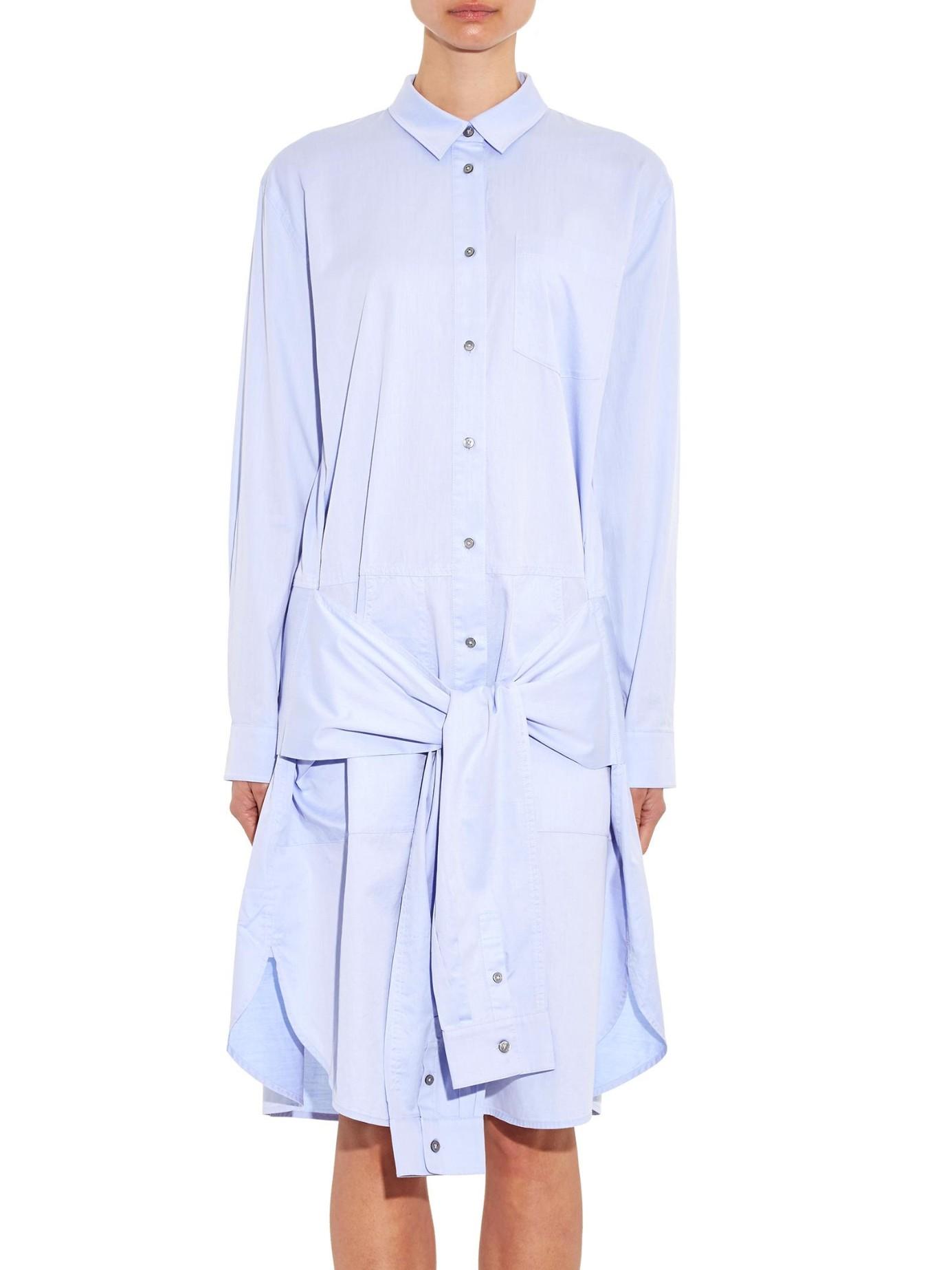 by alexander wang Waist-Tie Cotton Shirtdress in Blue | Lyst