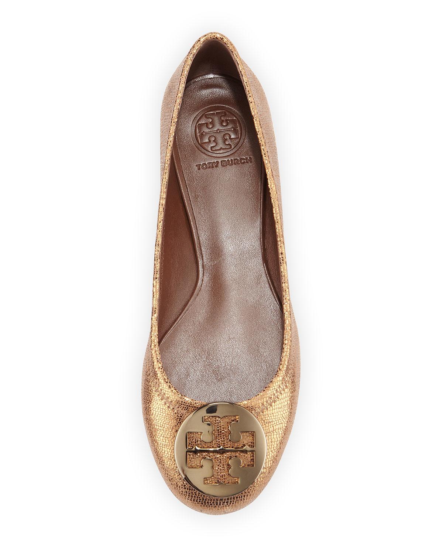 321210dc5187 ... reduced lyst tory burch reva metallic leather ballet flat in metallic  9eb25 02dbd