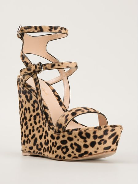 Gianvito Rossi Leopard Print Wedge Sandals In Animal Nude