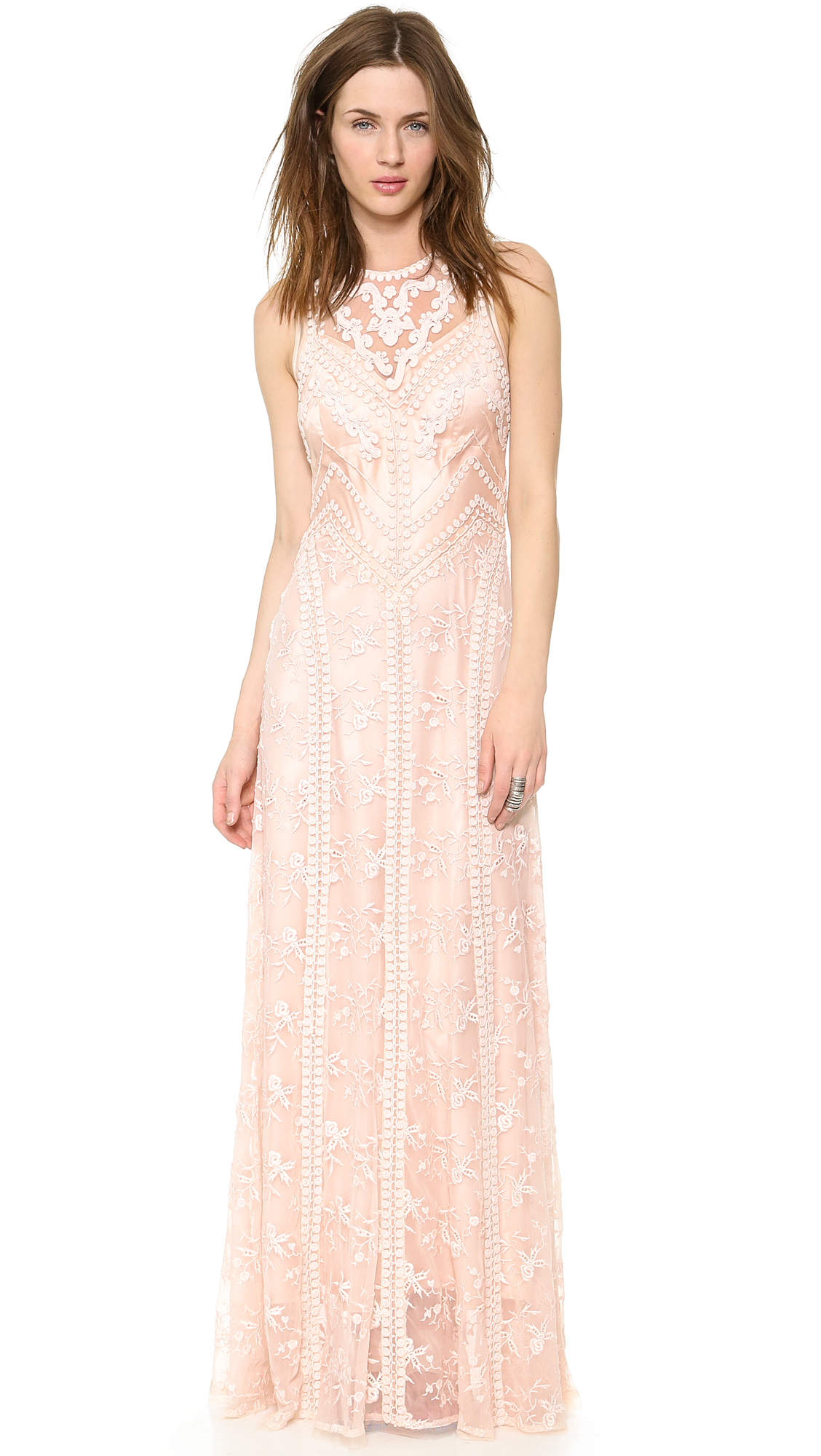 Lyst Nanette Lepore Neo Romantic Maxi Dress Blush In Pink
