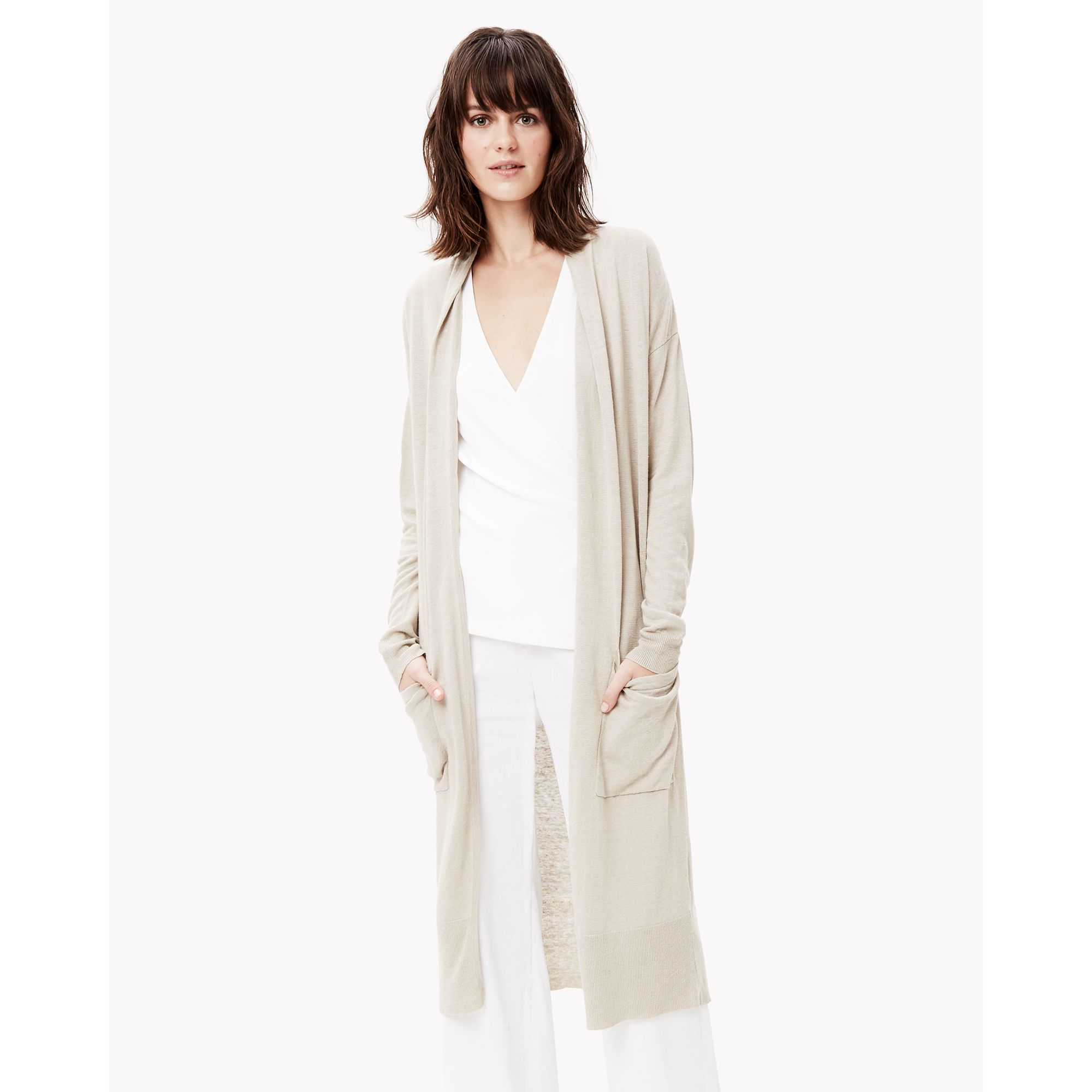 Theory Soft Linen Cardigan in Natural | Lyst