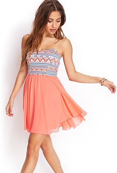 Forever 21 Tribal Print Strapless Dress in Multicolor ...