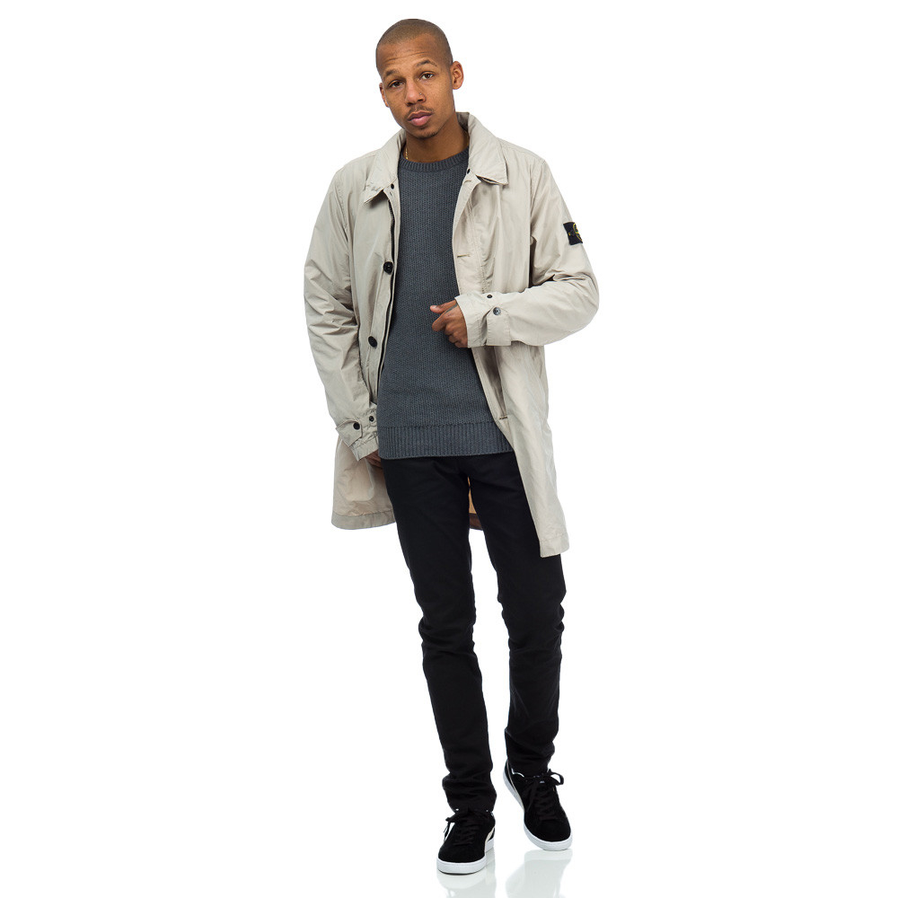 stone island 70422 micro reps long coat in sand in natural for men lyst. Black Bedroom Furniture Sets. Home Design Ideas