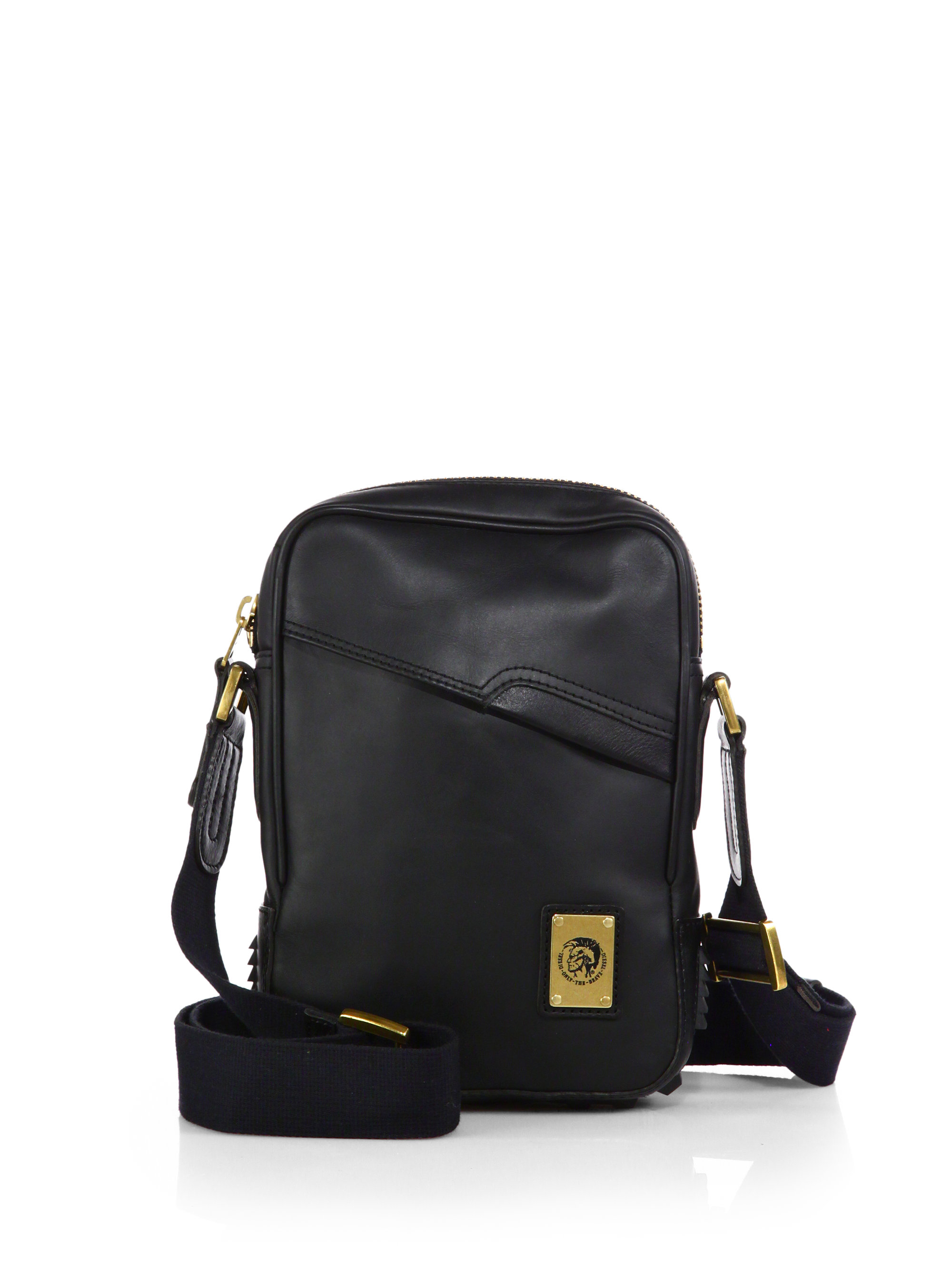 Diesel Rub & Rock Leather Crossbody Bag in Black for Men | Lyst