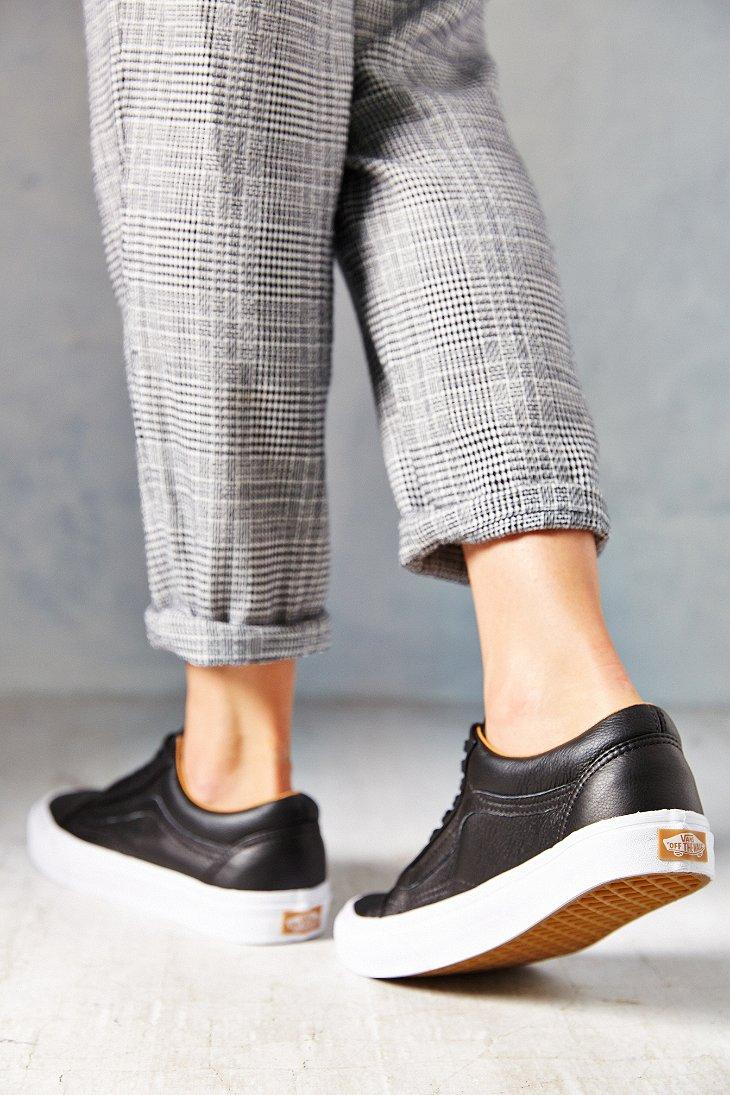 Lyst - Vans Old Skool Premium Leather Low-Top Women S Sneaker in Black b9172e4df2