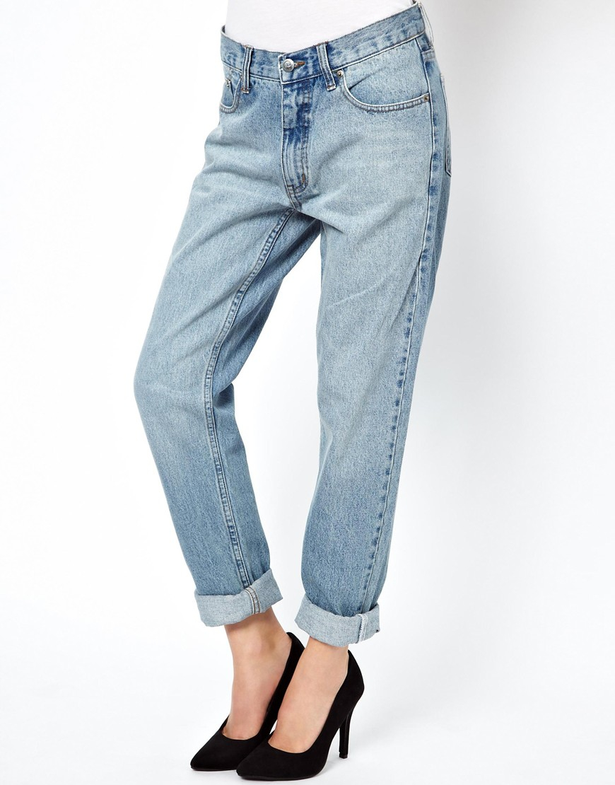 Cheap monday Slim Boyfriend Jeans in Blue | Lyst