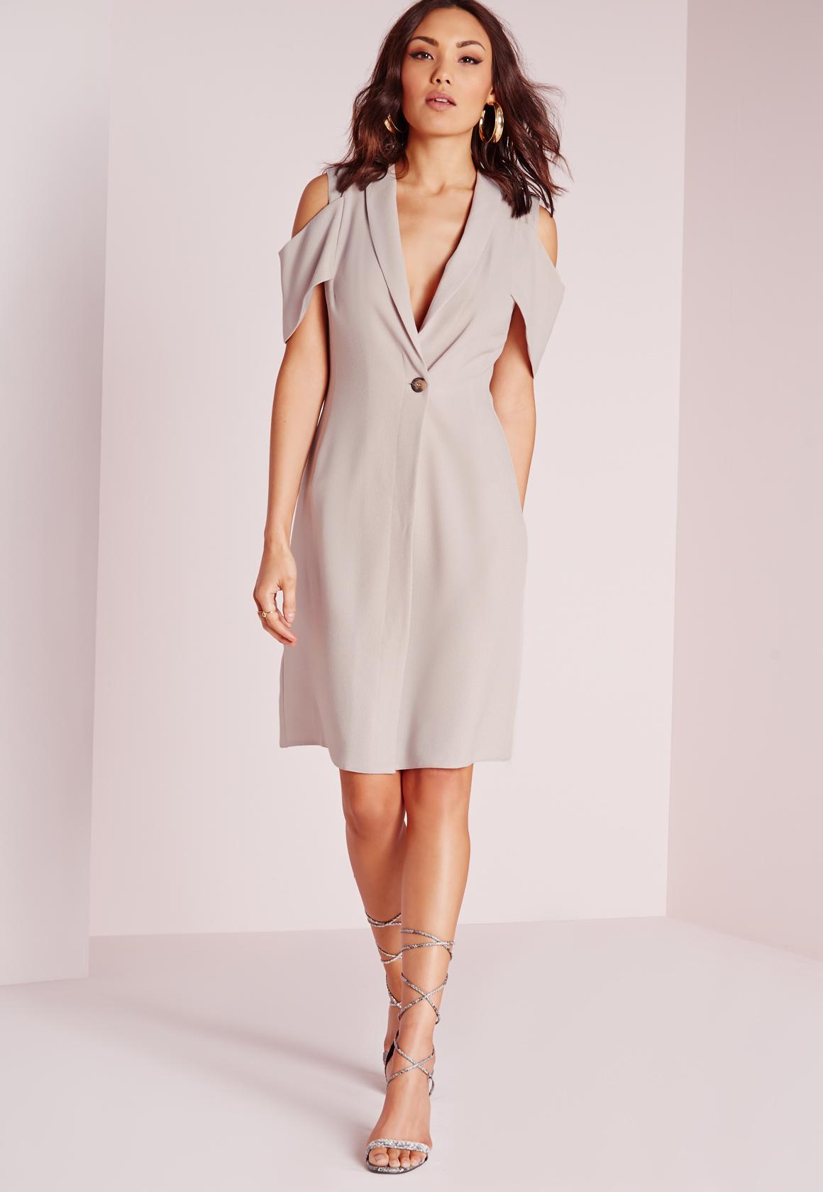 16a90f3f413f Lyst - Missguided Cold Shoulder Blazer Dress Grey in Gray