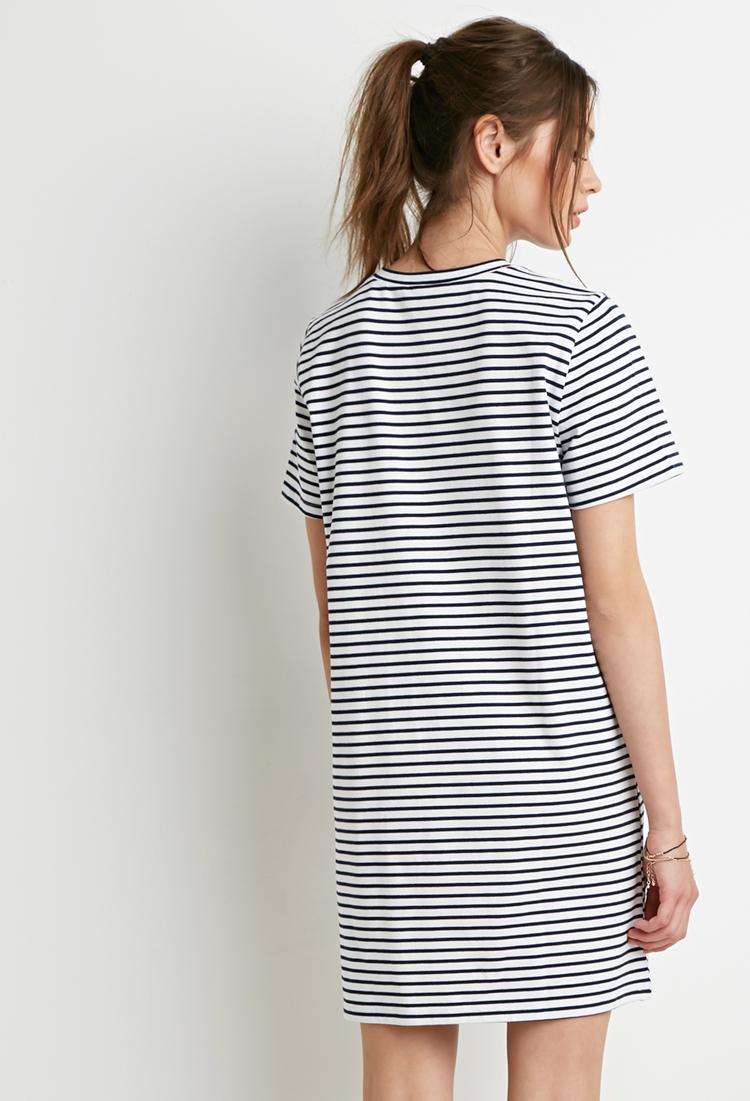 Blue and white striped dress forever 21 for White military dress shirt