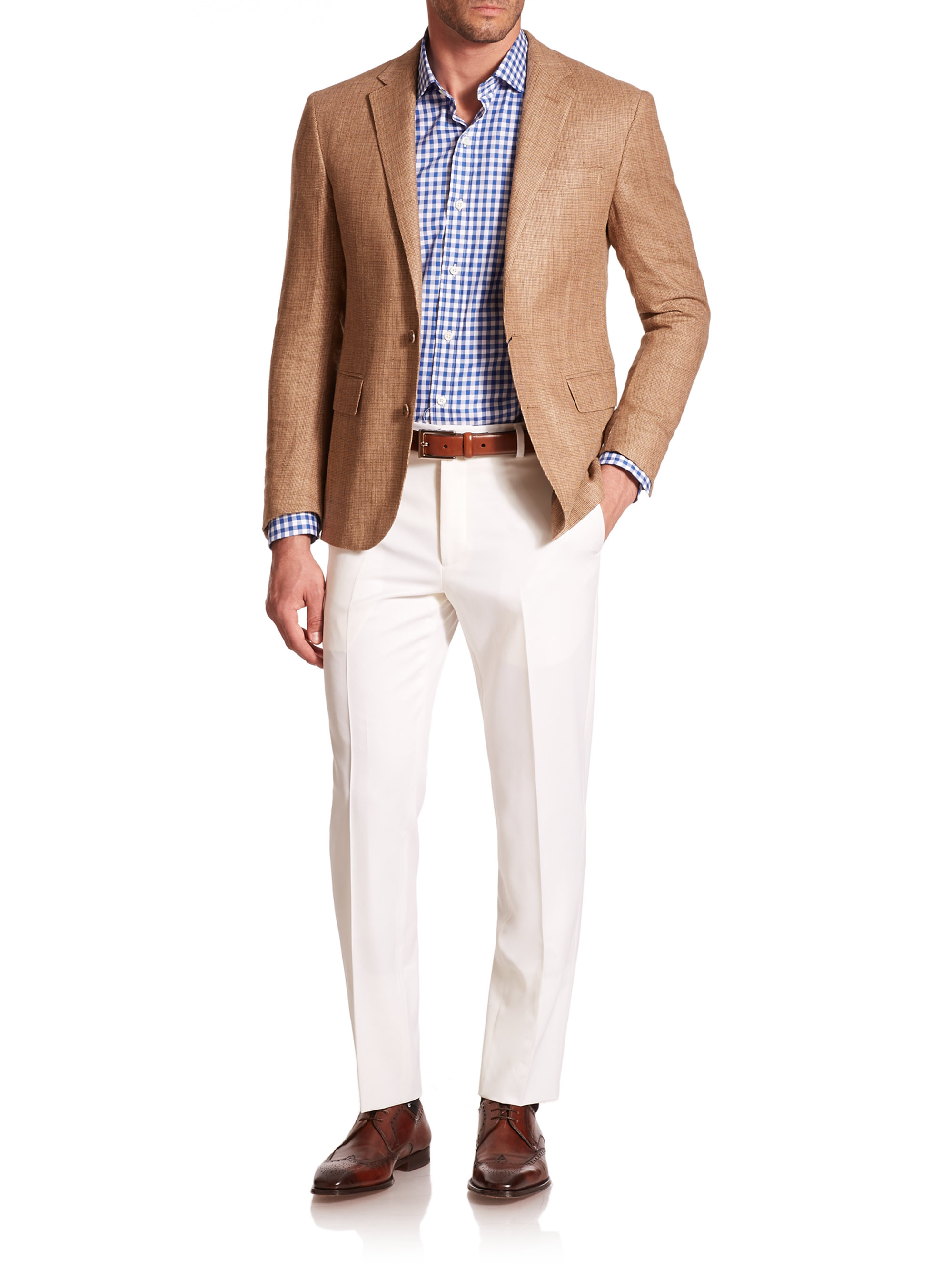 Polo ralph lauren Tickweave Linen & Silk Sportcoat in Brown for ...