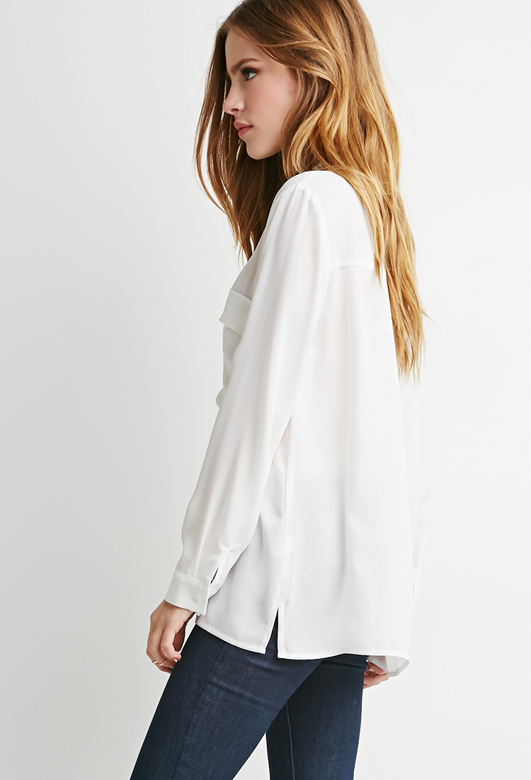 Lyst - Forever 21 Lace-up Pocket Blouse in White 3806df6f4