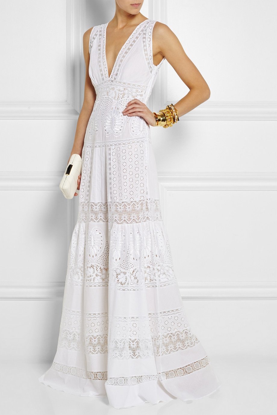 Roberto cavalli Broderie Anglaise Cotton Maxi Dress in ...