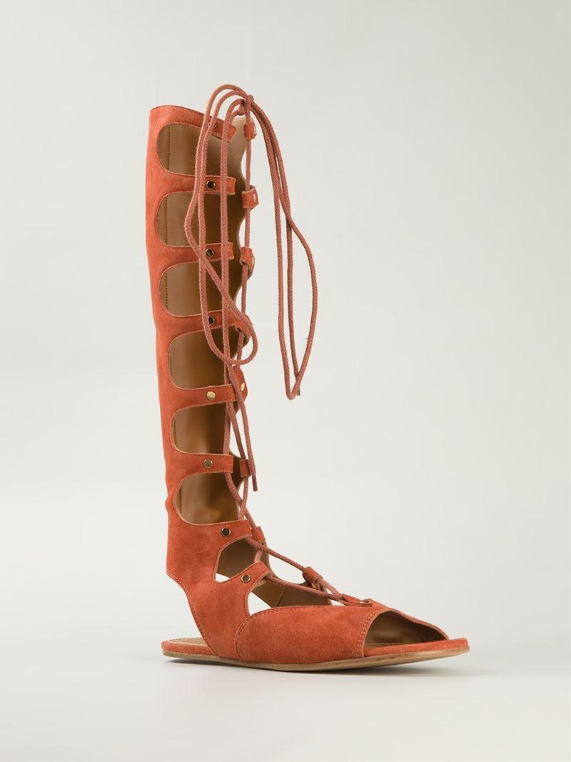 Orange Knee Length Sandals