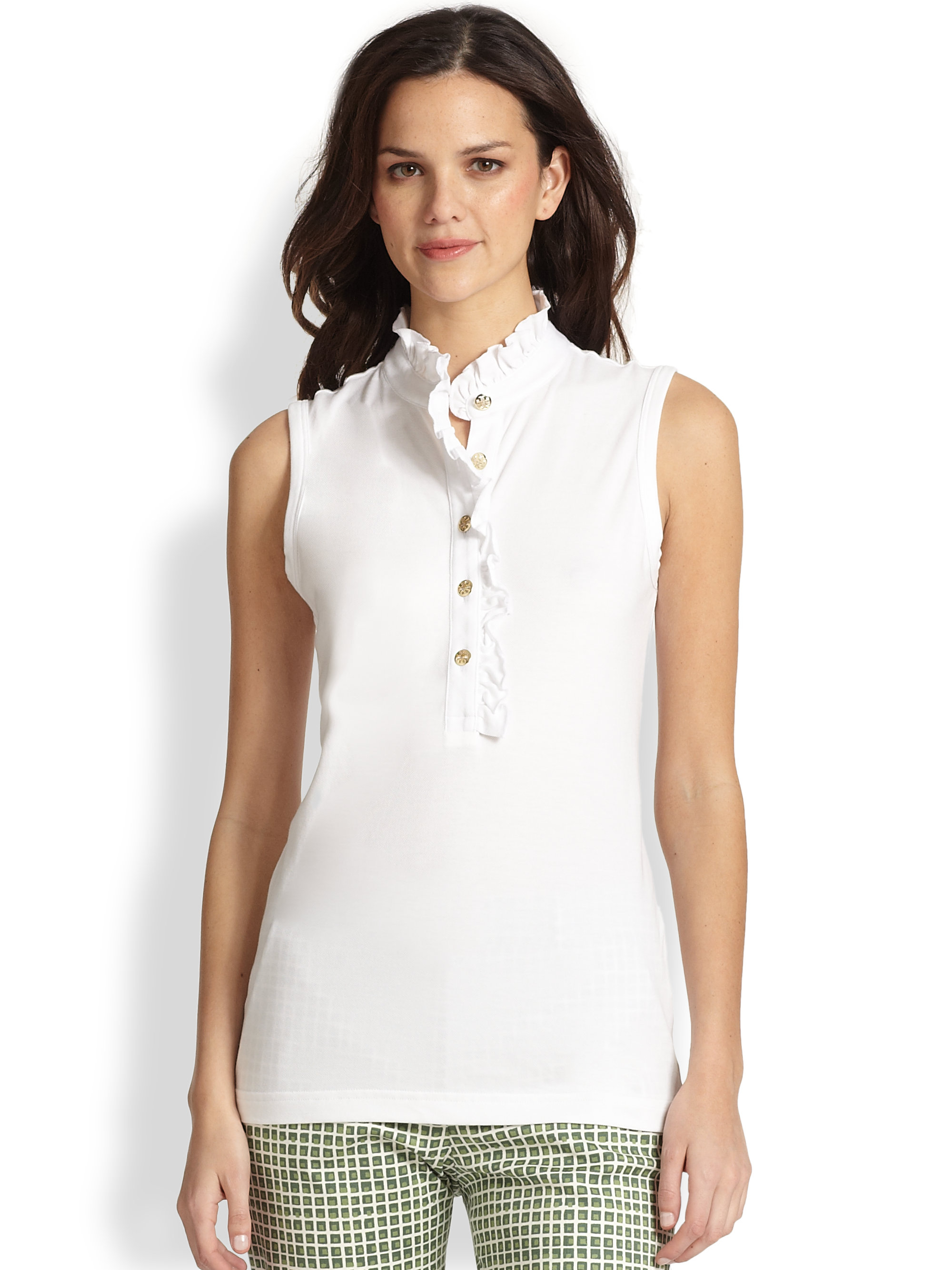 Tory burch sleeveless lidia polo shirt in white lyst for Tory burch fashion island