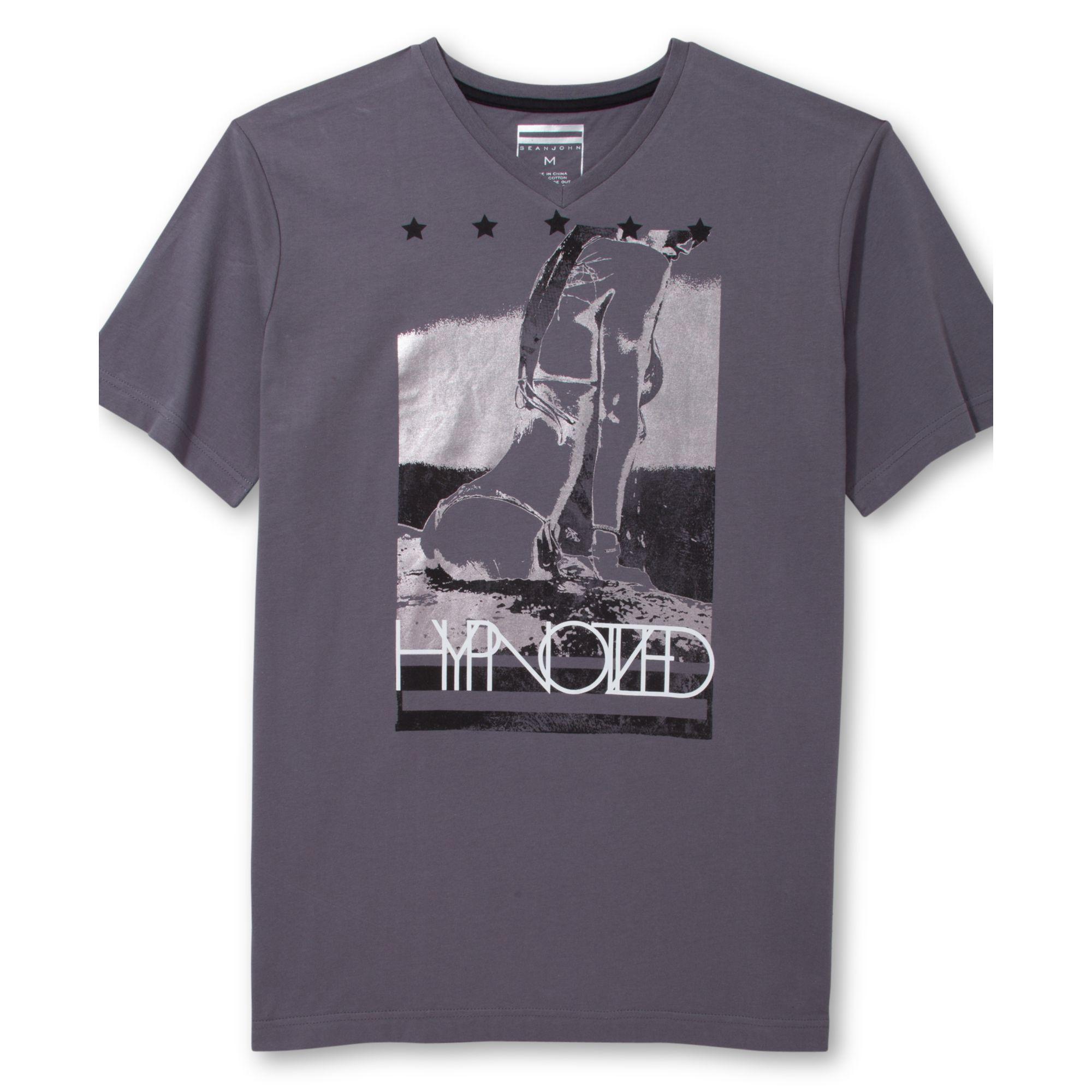 Sean john short sleeve graphic t shirt in gray for men for Sean john t shirts for mens