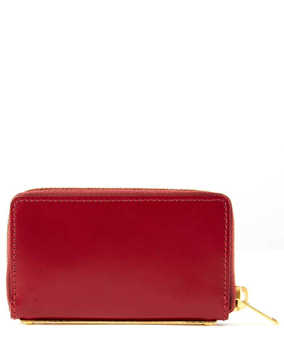 Sophie Hulme Mini Red Gold Spine Leather Wallet In Red Lyst