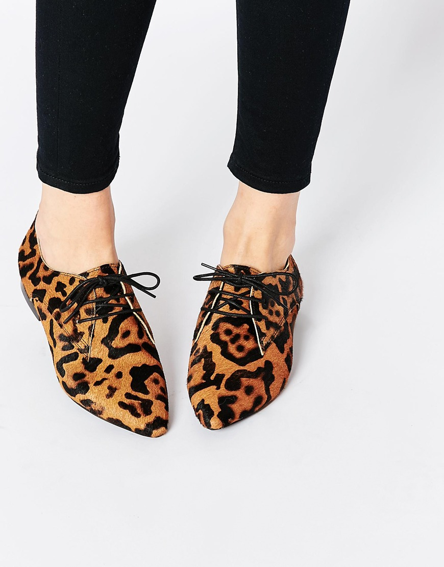 asos mara leather pointed flat shoes in animal leopard