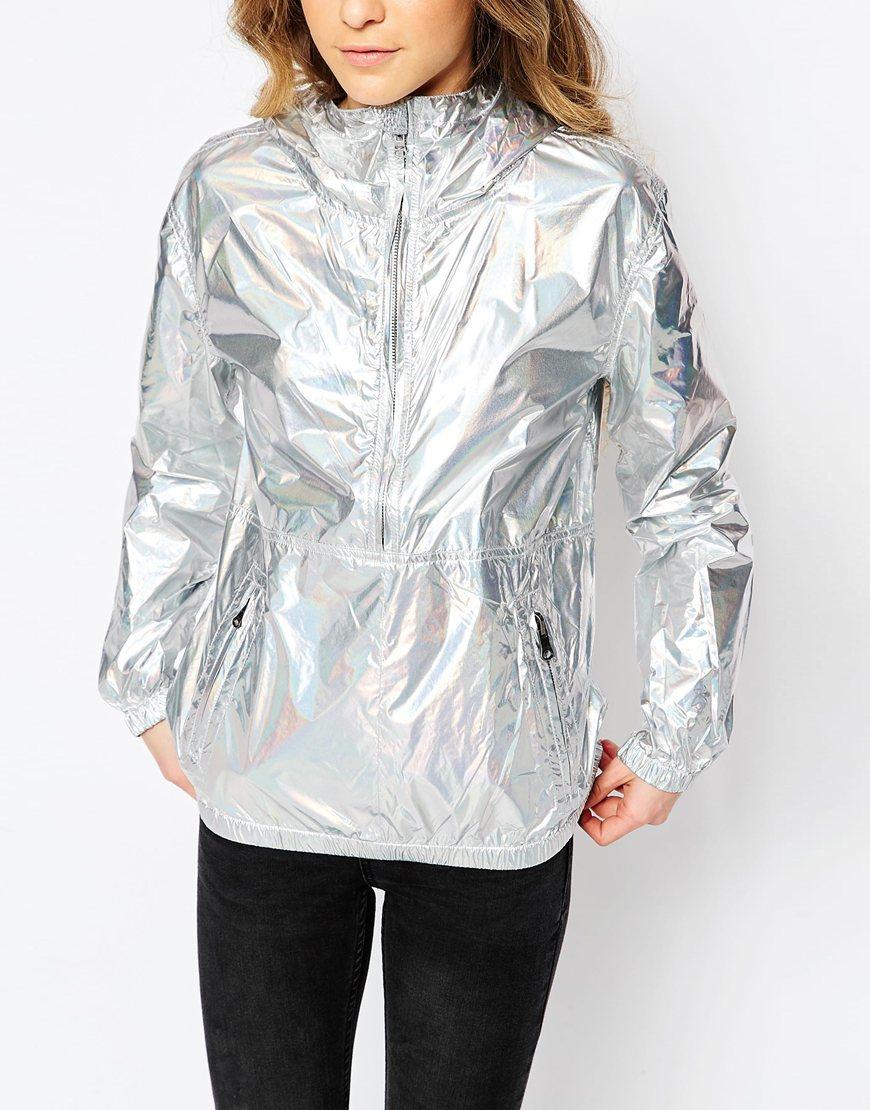 Converse Iridescent Festival Packable Rain Jacket Silver