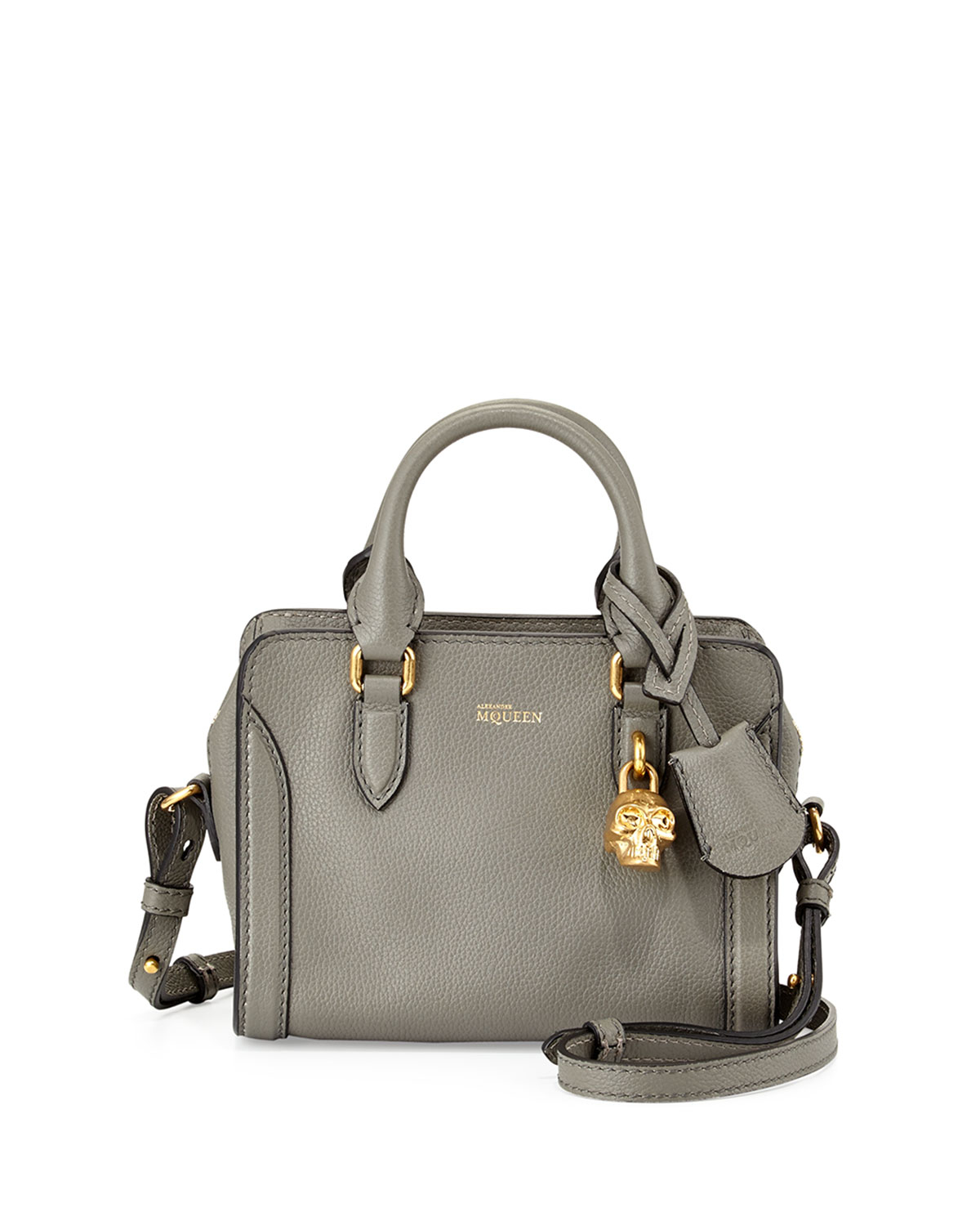 Alexander mcqueen Mini Skull Leather Satchel Bag in Gray | Lyst