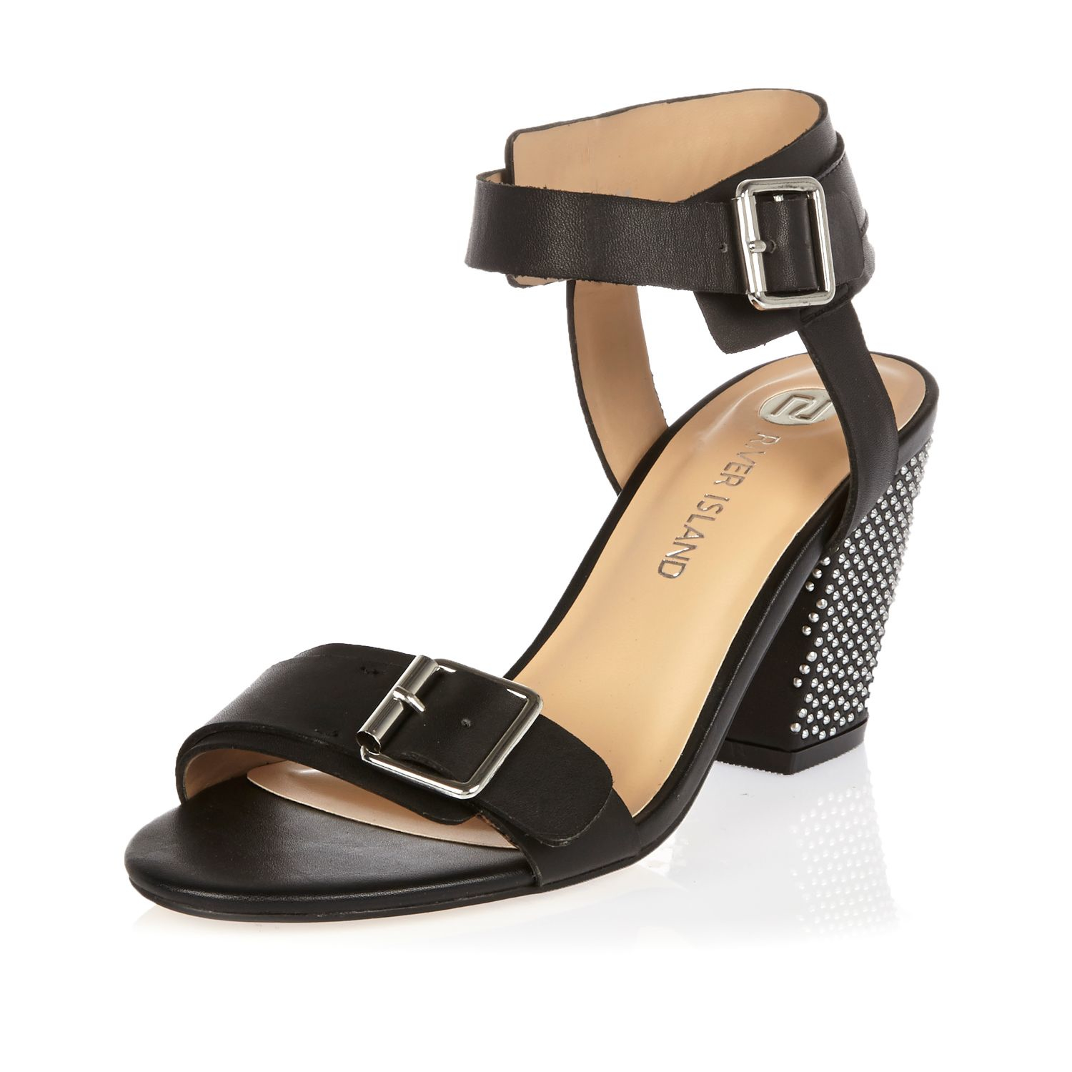 Black Mid Wedge Sandals River Island