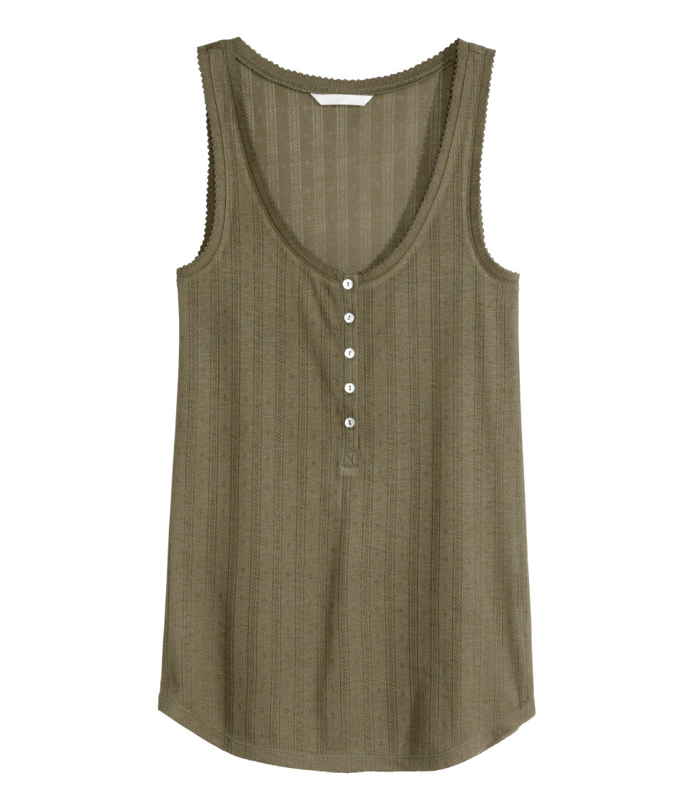 Knitted Shirt Pattern : H&m Pattern-knit Sleeveless Top in Natural Lyst