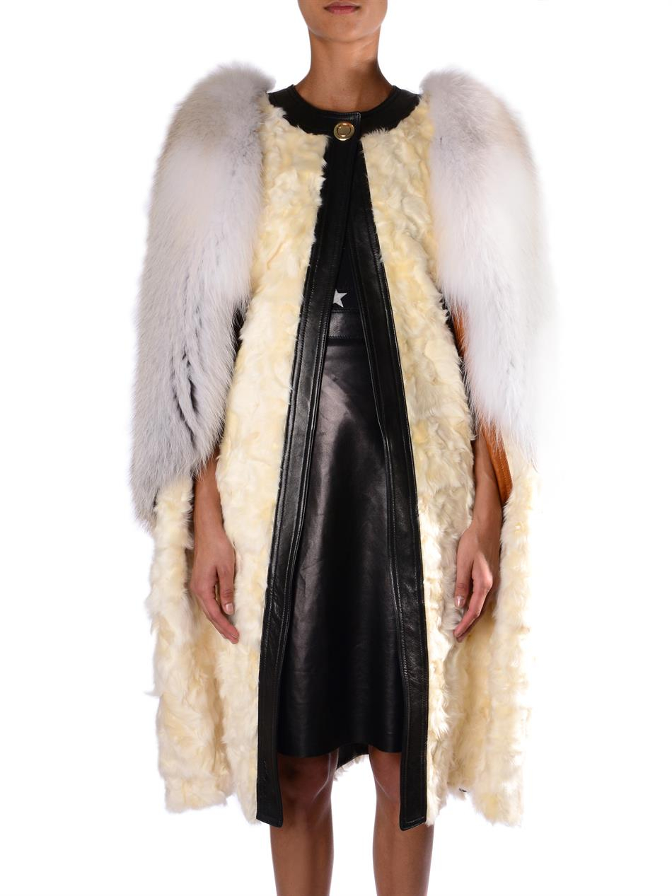 Givenchy Shearling and Fur Cape in Natural | Lyst