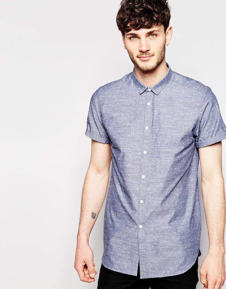 Lyst Asos Chambray Shirt In Chambray In Short Sleeve