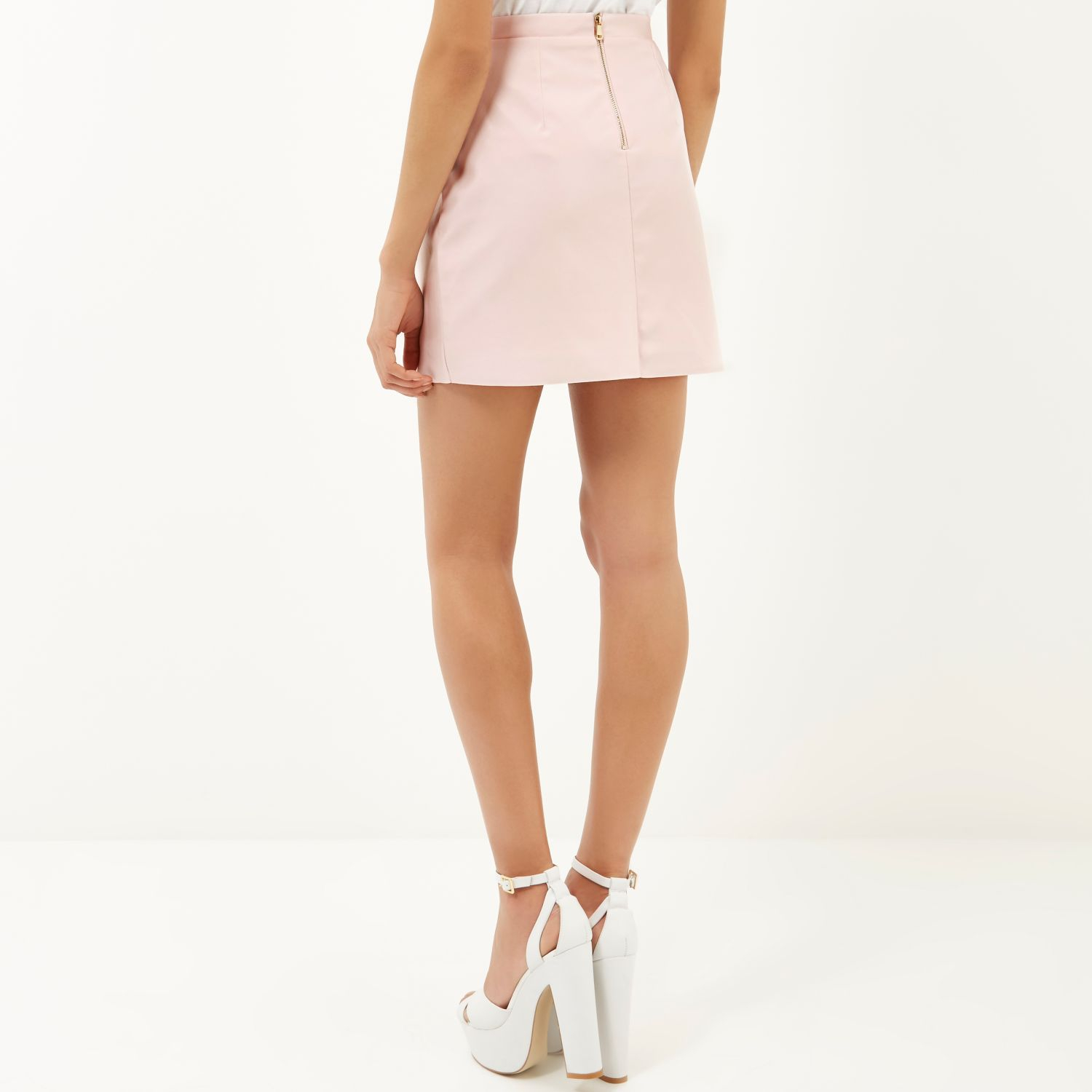 River island Light Pink Leather-look A-line Skirt in Blue | Lyst