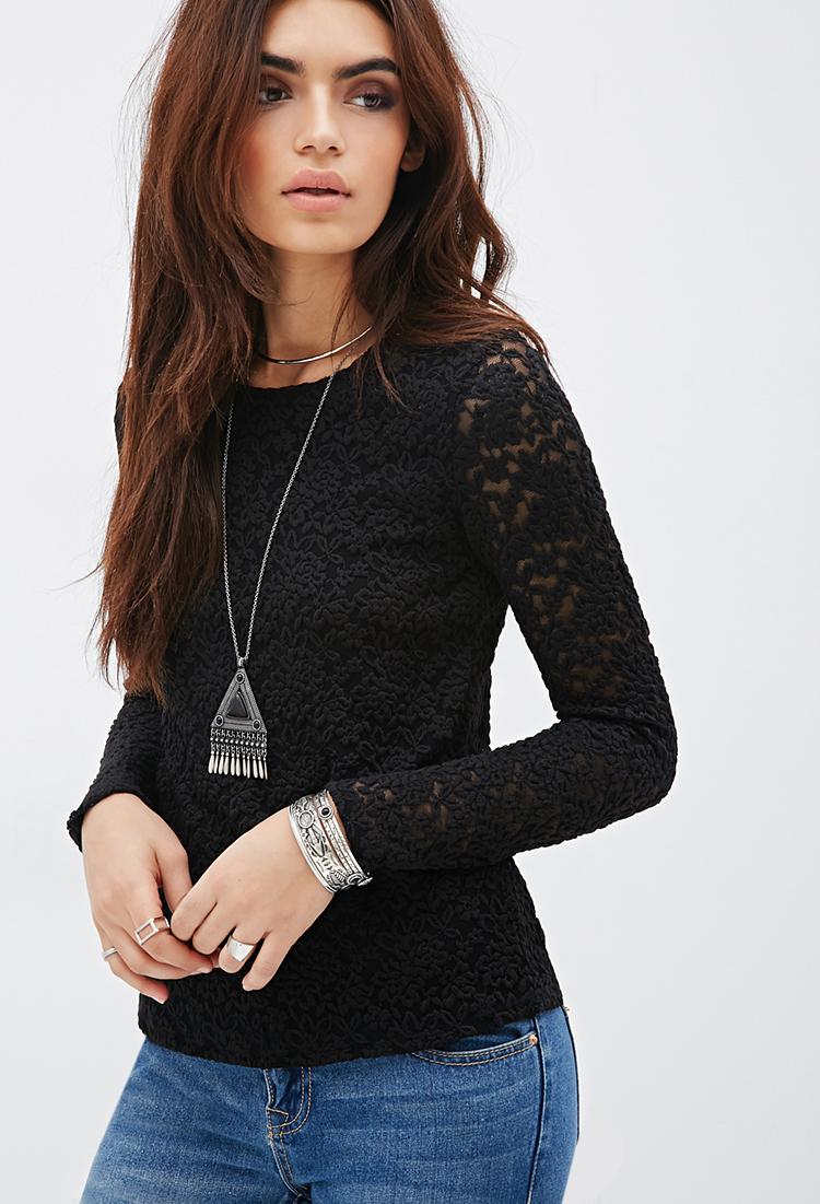 bda23f5fa7baed Black Lace Shirt Forever 21 - BCD Tofu House