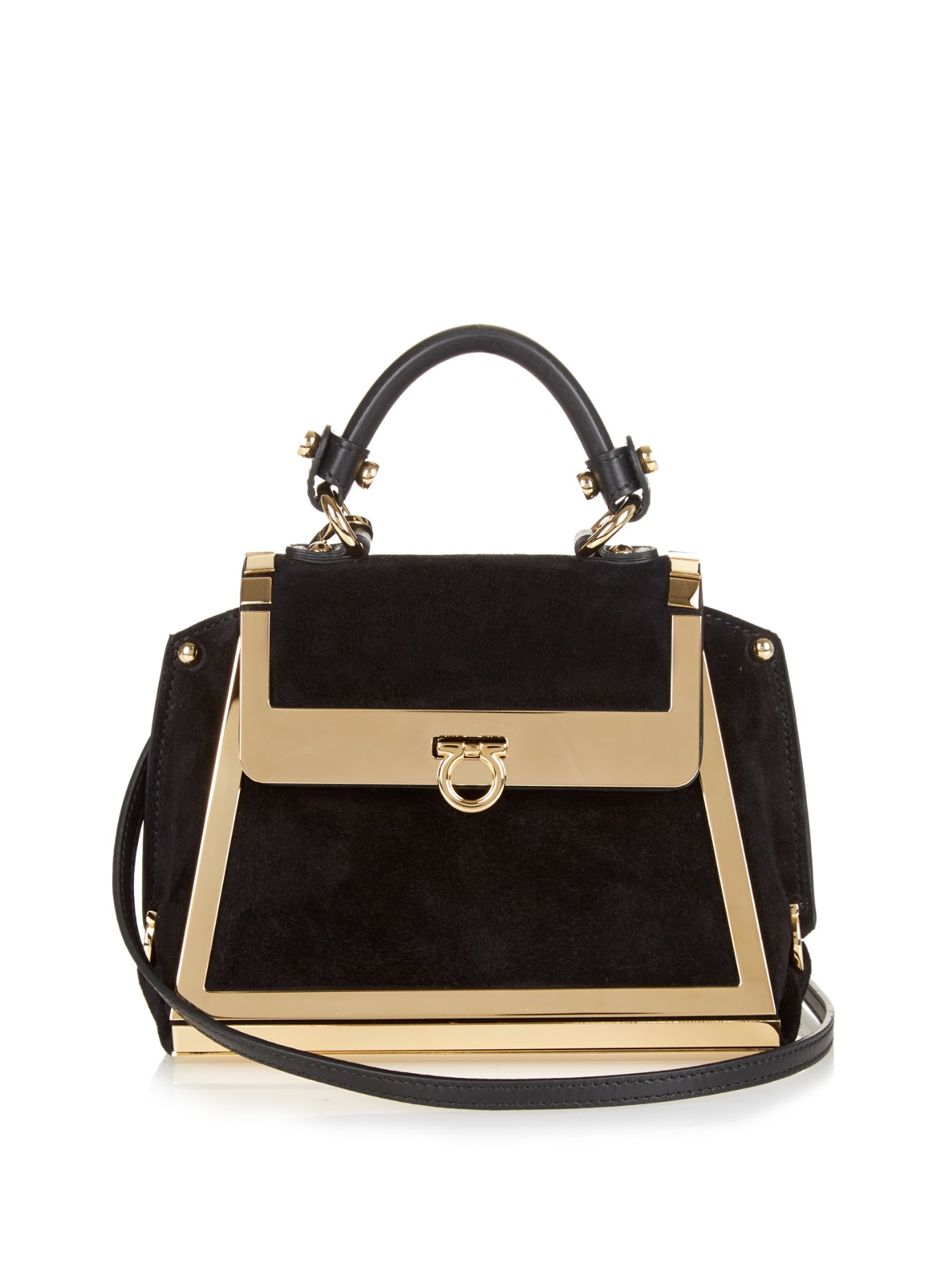 9b7da9e3a13e Lyst - Ferragamo Sofia Suede Cross-Body Bag in Black