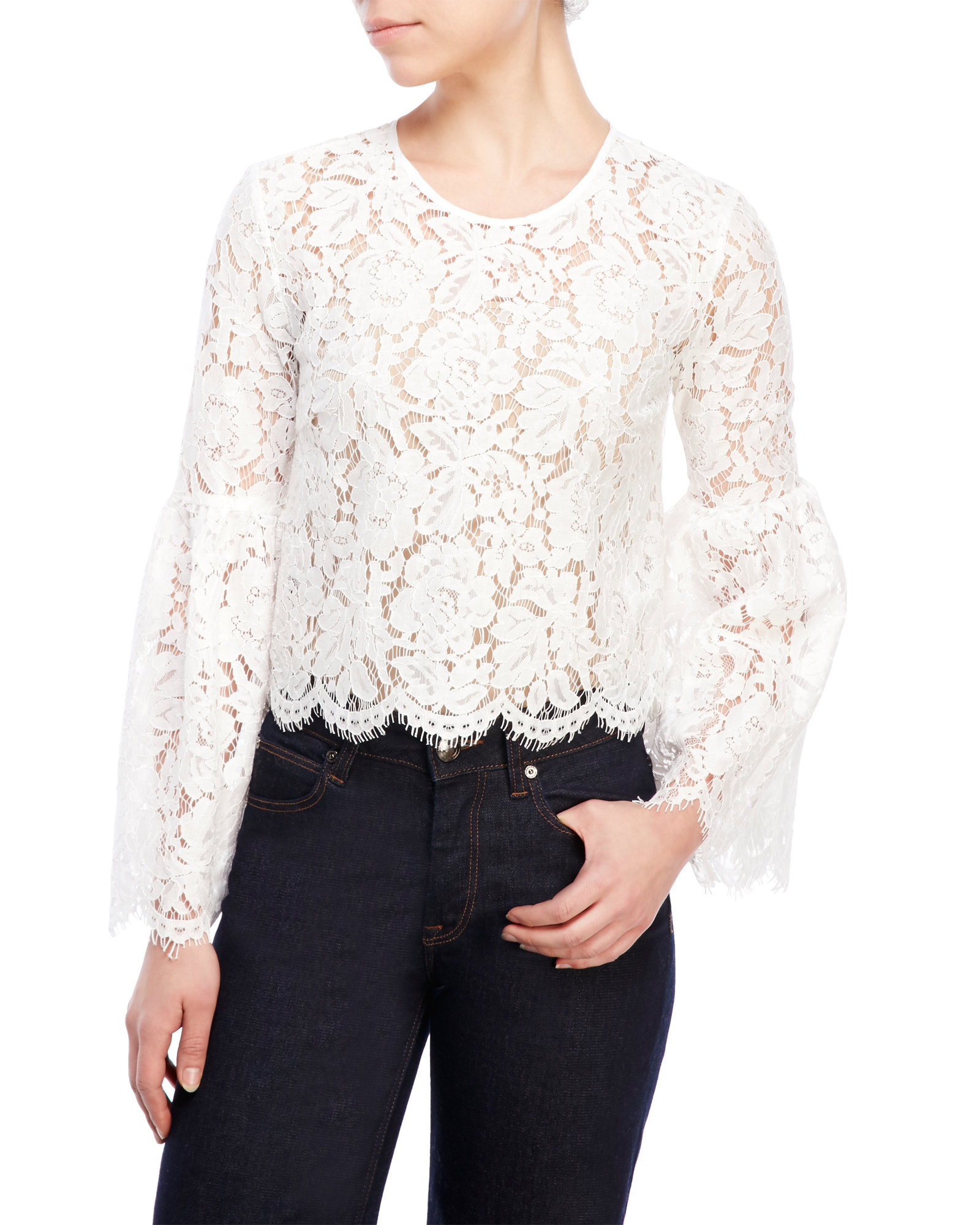 fa501a215 White Lace Long Bell Sleeve Top