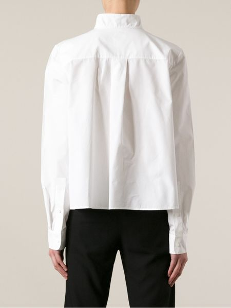 Stand Collar Blouse Designs : Chloé standup collar blouse in white lyst
