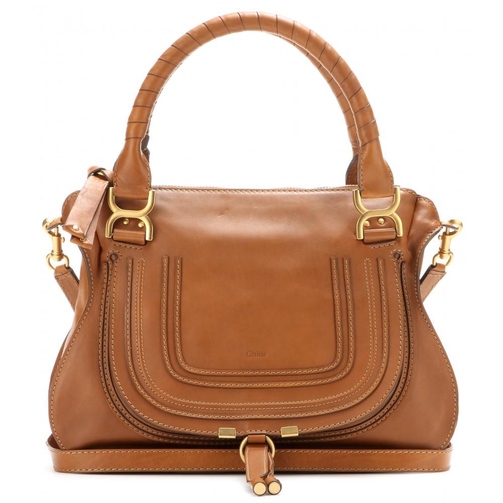 Chlo�� Marcie Medium Leather Shoulder Bag in Brown (savanna brown ...