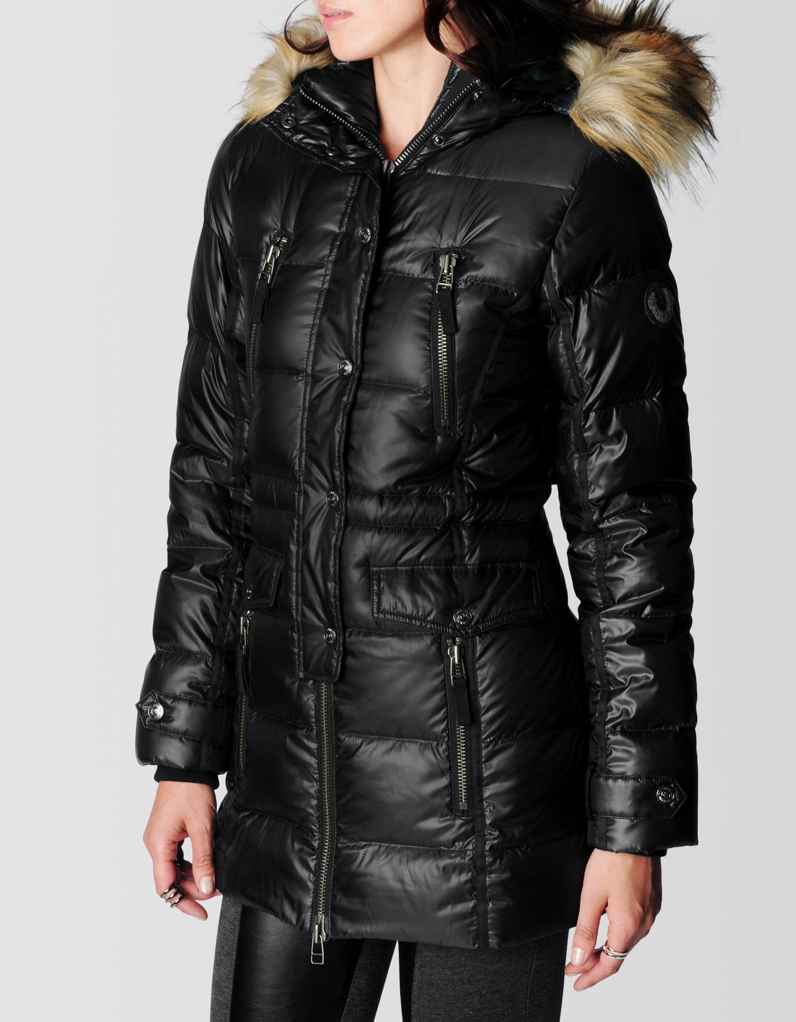 Womens long puffer coat