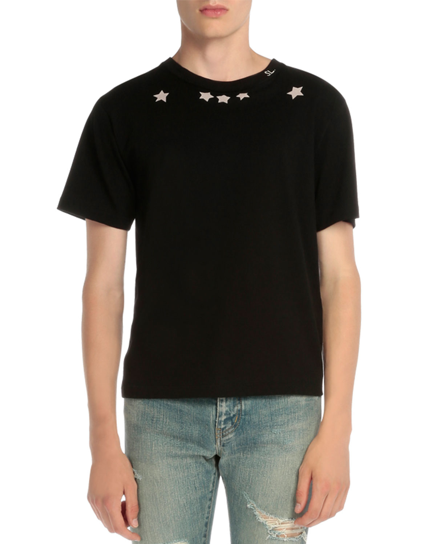 Saint laurent star print short sleeve t shirt in black lyst for Saint laurent t shirt