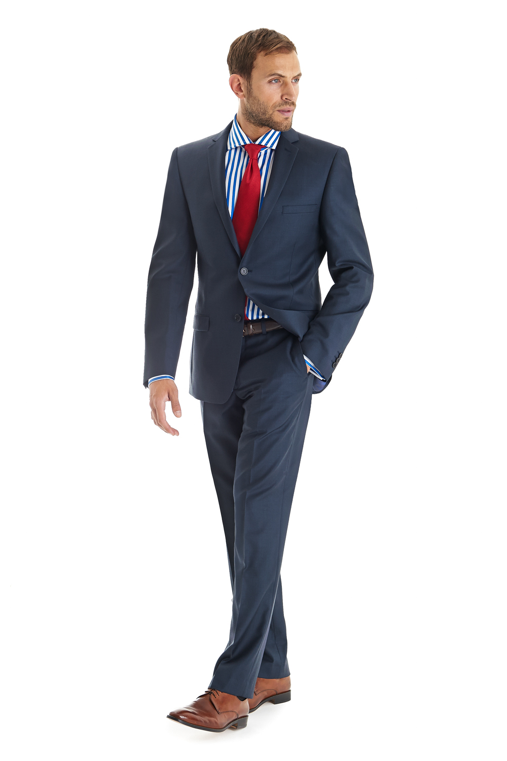 Calvin Klein Navy Pindot Slim Fit Suit – $ ($) That price reflects a half off cut, which is a bare minimum for Macy's (which was where it was found). Doesn't look like it's available online right now, but check in store if you're really wanting it.