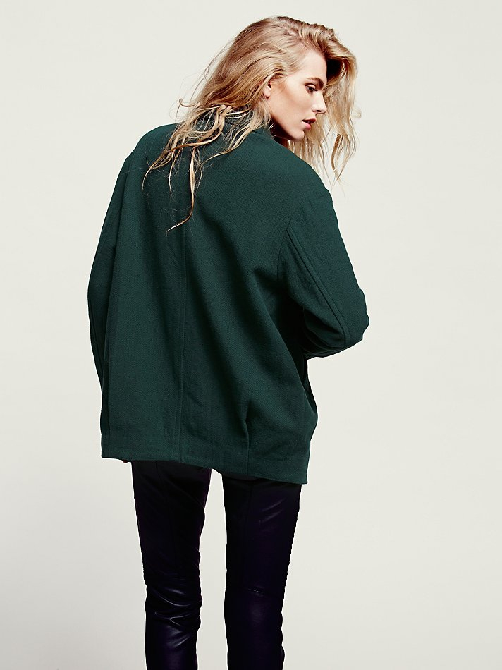 Free People Womens Slouchy Boyfriend Jacket In Green