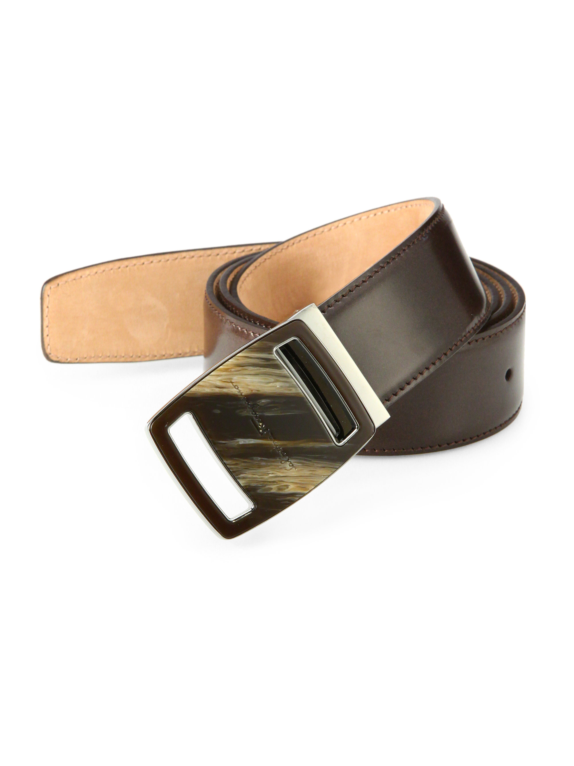 ferragamo sardegna buckle belt in brown for