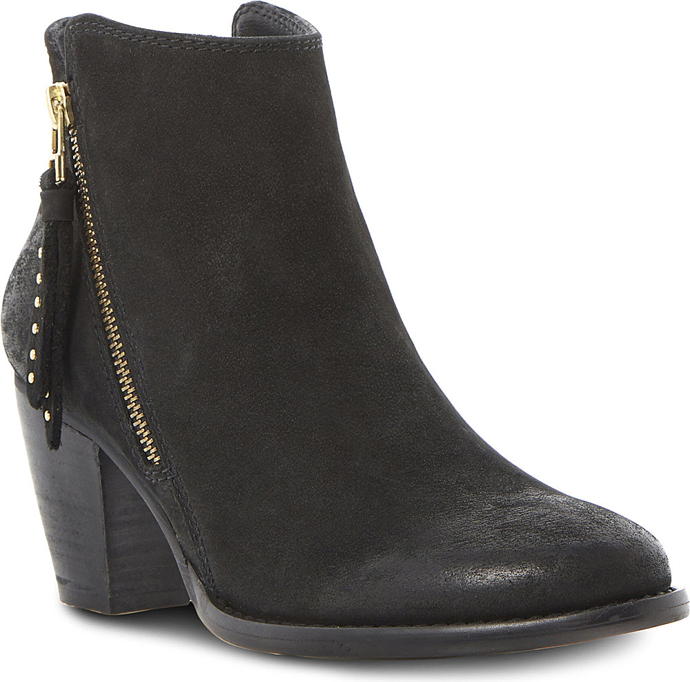 steve madden whysper leather ankle boots in black lyst