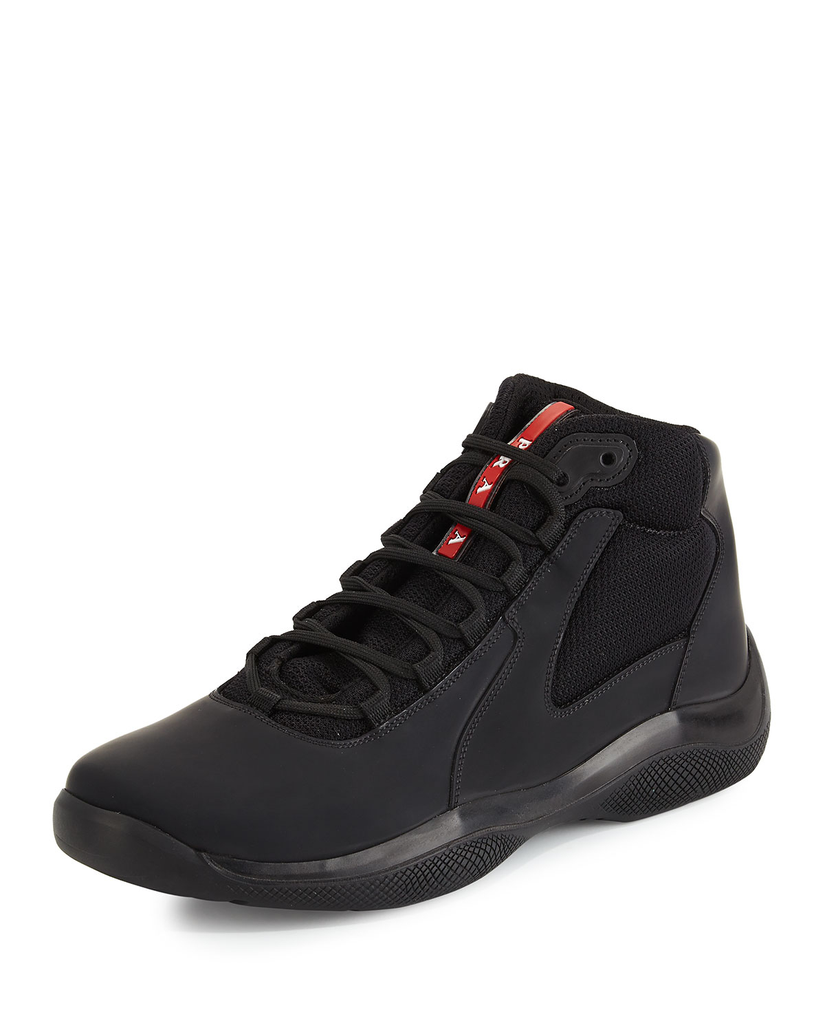 Lyst Prada America S Cup High Top Sneakers In Black For Men