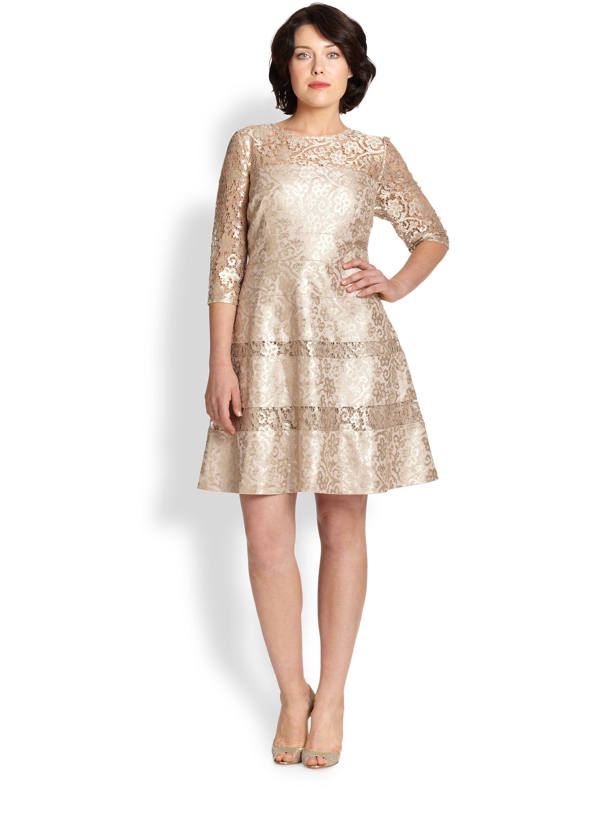 Kay Unger Lace Fit And Flare Dress In Metallic Lyst