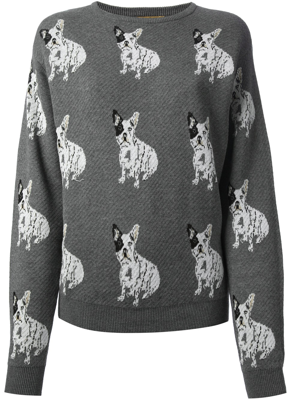Knitting Patterns For Bulldog Sweaters : Peter jensen Bulldog Sweater in Gray Lyst