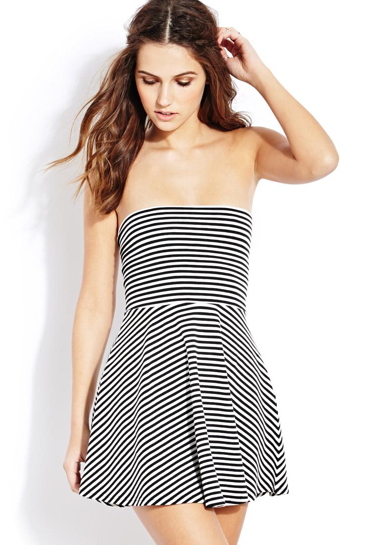 3651636708f Lyst - Forever 21 Seaside Sweet Tube Dress in Black