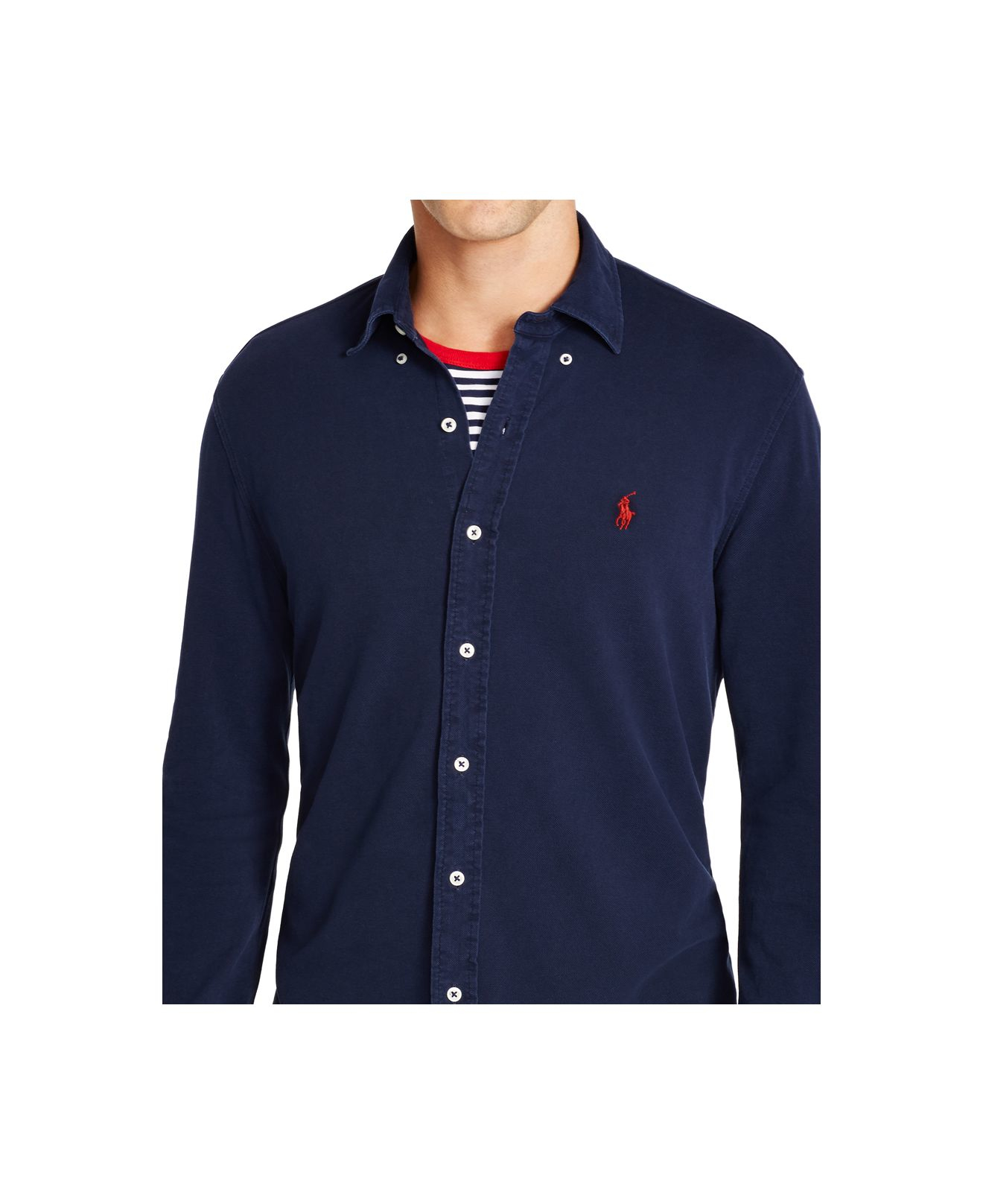 56221fd6 Polo Ralph Lauren Featherweight Mesh Button-down Shirt in Blue for ...