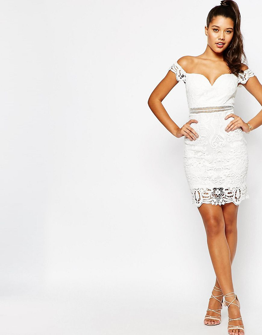 1d742091bb Lyst - Love Triangle Bardot Lace Dress in White