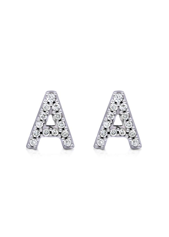carbon hyde diamond letter stud earring 14k white gold With white gold letter earrings