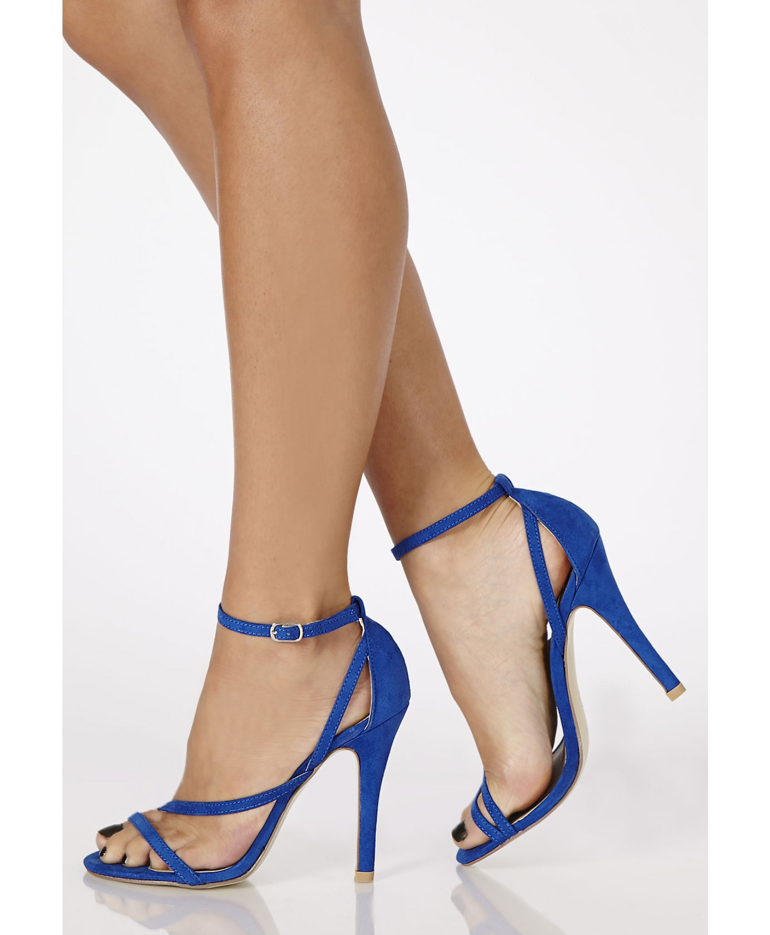 Missguided Nana Faux Suede Strappy Heels in Cobalt Blue in Blue | Lyst