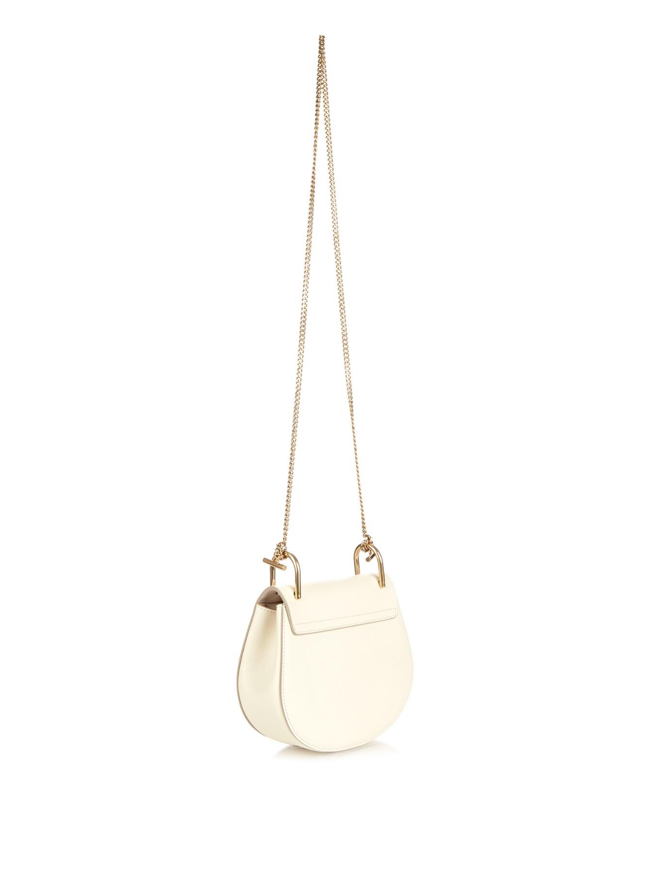 replica chloe bag - Chlo�� Drew Mini Leather Cross-body Bag in White | Lyst