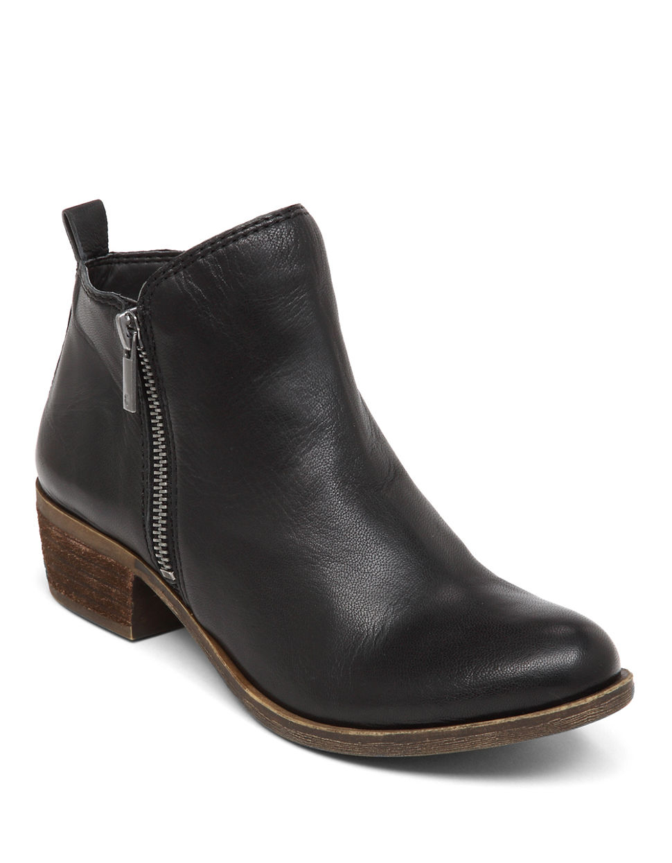 Lucky brand Basel Leather Ankle Boots in Black